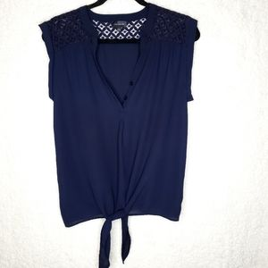 The Limited | Tie Knot Blouse Navy sz large